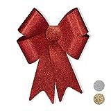 Relaxdays XL Riesenschleife, Dekoschleife für große Geschenke, Glitzer Dekoration, als Hochzeitsdeko o. Autoschleife, Rot, PVC, H x B x T: ca. 54 x 38 x 7,5 cm