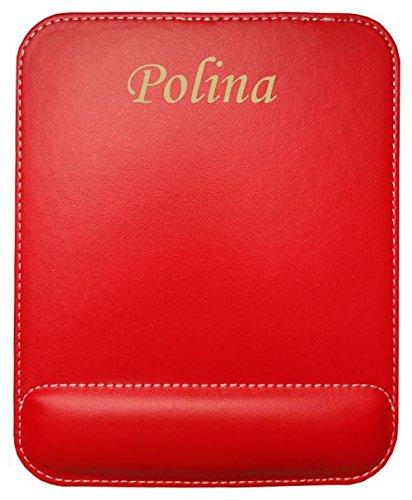Preisvergleich Produktbild Kundenspezifischer gravierter Mauspad aus Kunstleder mit Namen Polina (Vorname / Zuname / Spitzname)