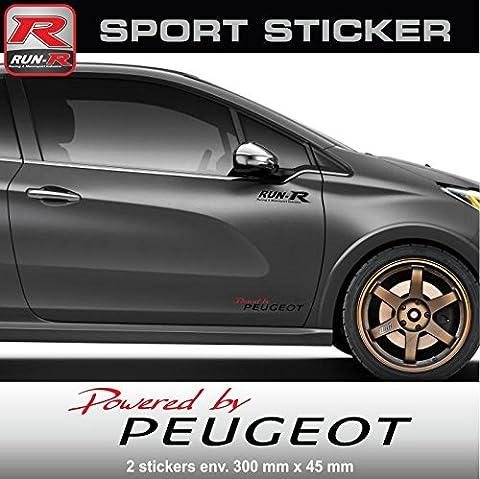 ADN-Auto 57382 Autocollants Pw02 Rn Sticker Powered By Peugeot pour 106 107 108 205 206 207 208 306 307 308 309 Rcz 2008 3008 5008