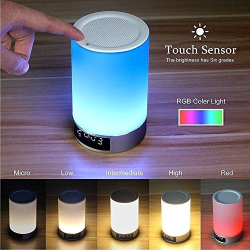 Nachtlicht 0210 Portable Wireless Bluetooth Lautsprecher,Moderne Nachtlicht Wecker Wake Up Licht Dimmable und Farbe ändern Nacht Lampe mit Touch Control (L5 Weiß) / 3.5x5.6 in (Bluetooth Outdoor Lautsprecher-tabelle)