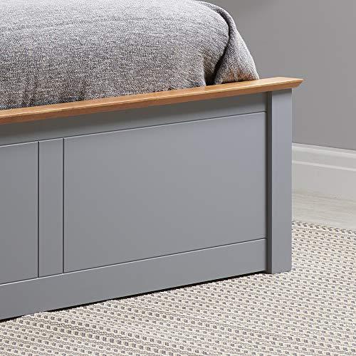 Happy Beds Phoenix Ottoman Storage Bed Stone Grey Finish Modern Wooden Frame 5' King Size 150 x 200 cm