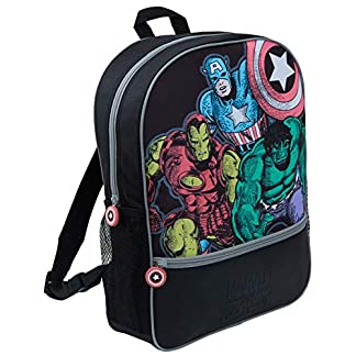 Marvel Comics Avengers Mochila Grande Escuela, Viaje, Mochila Negra para niños y niñas Adultos