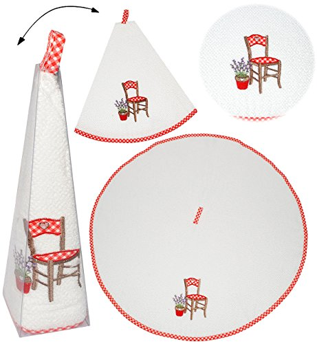 alles-meine.de GmbH Küchenhandtuch / Gästehandtuch -  Stuhl mit Lavendel  - RUND - 100 % Baumwolle - ø 70 cm - Frottee Stoff - Geschirrtuch & Handtuch - weiß - mit aufwendiger .. - Lavendel Geschirrtücher