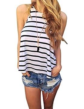 vovotrade Las mujeres verano Stripe Vest t Camisa Blusa Casual Tops