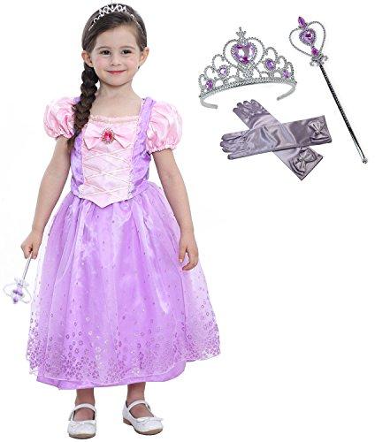 Lonchee Kleine Mädchen Prinzessin Rapunzel Kostüm Kleid Puffärmeln,Cosplay Halloween Geburtstag Party Kleid Fancy Kleid Mädchen Kinder Kleid Halloween Kostüm