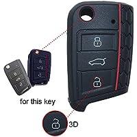 Wabenförmig Silikon Key Cover Case Seat Schlüssel Gehäuse Schlüsselcover Schluessel Huelle Fuer Klappschluessel Rline Schlüsselhülle Schlüssel Hülle 3 Tasten for VW for Leon 5F SC ST 1PC Schwarz