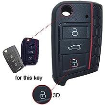 wabenförmig silicona Key Cover Case Carcasa Seat Llave de llave fija (con aislamiento funda para klapps chlu Essel Rline Carcasa Llave para llaves 3botones for VW for Leon 5F SC St 1pc negro
