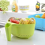 Ystore Fruit And Vegetable Baskets For Kitchen |Noodles/Pasta Washing Bowl And Strainer/Drainer With Handle| Fruits Storage Basket For Kitchen.