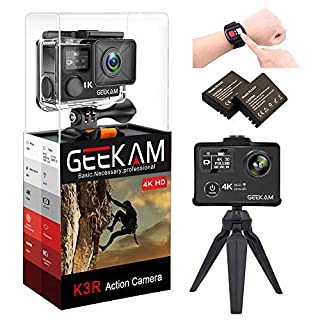 GEEKAM Action Camera 4K 12MP WIFI Sport Camera HD Waterproof Cam 30M Dual Screen 170 Degree Wide Angle with 2 Rechargeable 1050mAh Batteries and Accessories Kits - K3R