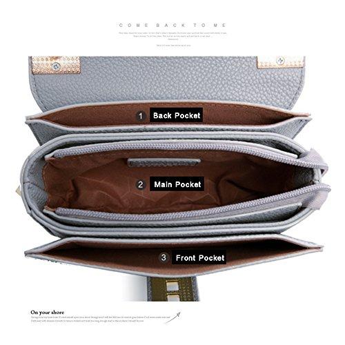 Yoome Fashion Casual Flap Bag Lichee modello Elegante Catena Borse da lettera per donne in pelle - Grigio Rosa