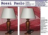 Lampada da tavolo comodino in legno tornito con paralume - produzione propria - made in Italy (coppia noce piccola)