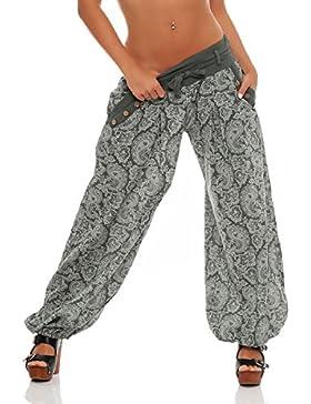 malito Harem Pantalón con Orient Print Boyfriend Aladin Bombacho Sudadera Baggy Yoga 3488 Mujer Talla Única