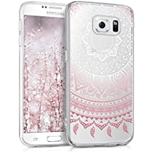kwmobile Funda transparente para Samsung Galaxy S6 / S6 Duos con diseño IMD y marco de silicona TPU con parte trasera de plástico - funda blanda para móvil carcasa protectora bumper Diseño sol indio