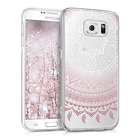 kwmobile Hülle für Samsung Galaxy S6 / S6 Duos - TPU Silikon Backcover Case Handy Schutzhülle - Cover klar Indische Sonne Design Rosa Weiß
