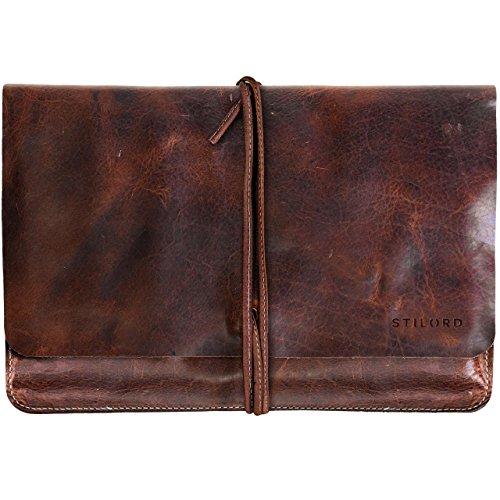 STILORD 'Collin' Funda Protectora de Piel Estilo Vintage para Tablet o portátil de 9.7-10' Portafolio o Bolsa portadocumentos de auténtico Cuero, Color:Kara - Cognac