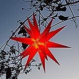 Mit LED 20-Zack Außenstern rot, Outdoorstern inkl. Außenkabel/Außensterne, Leuchtmittel StaRt-NDL-DUH-E14-3,5W 104 SMD Dioden