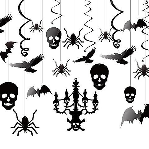 Kuuqa Halloween Décorations suspendues Plafond Décoration de lustre Bat Crow Spider Skull pour décoration de maison hantée, ensemble de 20