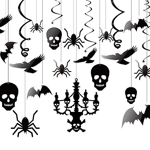 Kuuqa Halloween Hängende Dekorationen Decke Dekoration der Kronleuchter Fledermaus Krähe Spinne Schädel für Haunted Haus Dekoration, Satz von (Halloween Dekorationen Klassenzimmer Für)