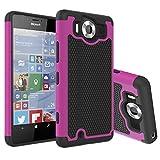 Microsoft Lumia 950 Hülle, Nnopbeclik Dual Layer Rugged Armor stoßfest Handy Schutzhülle Silikon Tasche für Nokia Lumia 950 / Microsoft Lumia 950 - Rose + 1x Display Schutzfolie Folie