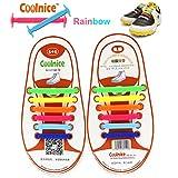 Coolnice® kein Krawatte schnürsenkel elastisch für Kinder Paar(12 Stücke)- Umweltverträgliche Wasserdicht Silikon schnürsenkel regenbogen