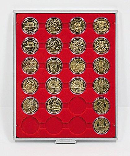 Lindner 2224 Box monnaies à 24 alvéoles ronds pour capsules de Ø extérieur 41 mm-Gris / plateau rouge