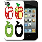 Snoogg colorido de manzanas Funda Carcasa Trasera Funda para Apple iPhone 4