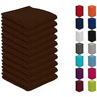 Pack de 10 toallas, 30 x 30 cm, 100% algodón, varios colores, marrón chocolate, 10er Pack Seiftücher (30x30 cm)