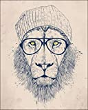 1art1 99130 Raubkatzen - Cool Lion, Balazs Solti Poster Kunstdruck 50 x 40 cm