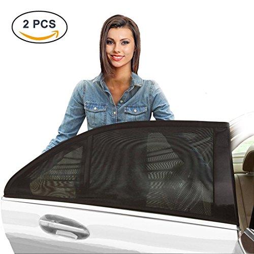 BeiLan 2 stücke Auto Fenster Schutzhülle Schwarzes Garnnetz Abdeckungen Sonnenschutz-Schirm Bieten UV-Strahlen Blendschutz Schutz für Baby Kleinkinder Kinder Haustiere und Familie Reisen