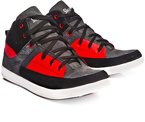Leoport Ankle Length Leather Sneakers Shoes For Men And Boys (6, Black)  available at amazon for Rs.449