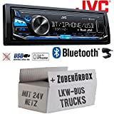 LKW Bus Truck 24V 24 Volt - JVC KD-X341BT - Bluetooth | MP3 | USB | Android | iPhone Autoradio - Einbauset