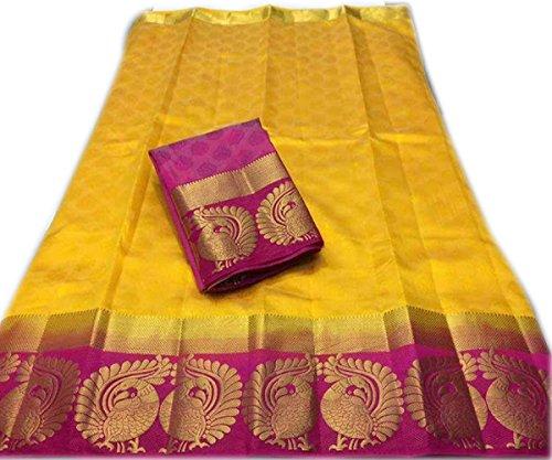 Indian Beauty Kanjivaram Emboss Tussar With Jecqured Border With Blouse Saree (YELLOW)