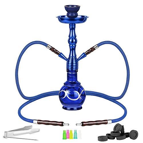 Herren Große Kohle (Mianova® Orientalische Wasserpfeife Shisha Hookah Set 2 Schläuche 45cm Tribal inkl. Kohle, 5 Mundstücke und Zange Blau)