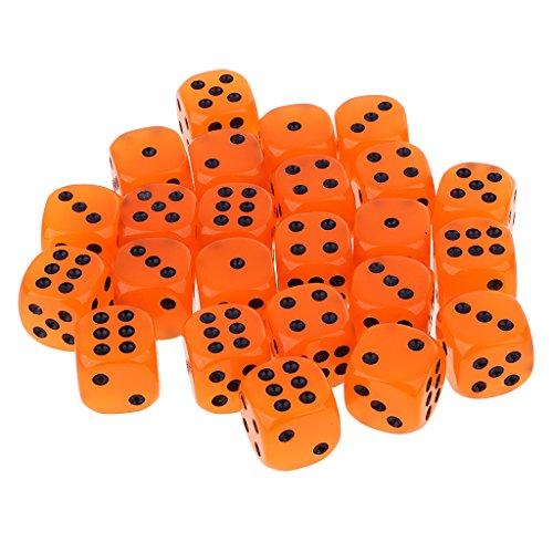 Homyl 25pcs/Pack D6 Sechsseitige Glow In The Dark Dice Leuchtend Würfel Spielwürfel - Orange (Den Glühen Farbe In Schwarzen Dunklen)