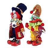 2 PCS Modello Dolls Pagliaccio in Porcellana da 7 Pollici Collezione di Decorazioni per Casa