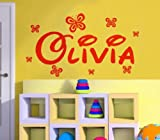Wand für den Heimbereich Name mit Schmetterling (Name personalisiert, Text) Mädchen Jungen Disney Stil DB1, Rot, M (90 x 30 cm)