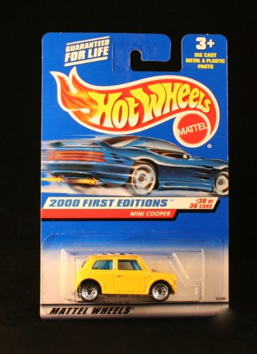 Mattel Hot Wheels 2000 First Editions Series 1:64 Scale Die Cast Metal Car # 30 of 36 : Yellow Coupe Mini Cooper with Checker Board Rooftop (Collector No. 90)