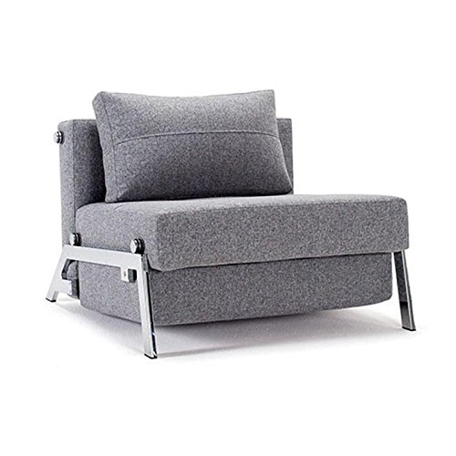 Innovation Cubed 90 Sessel/Schlafsessel, grau Gestell chrom Bezug Dess. 565 Granit Twist...