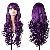 Tianya Perruque femme Cheveux longs ondulés bouclés. Résiste à la chaleur. Idéal pour fête Cosplay Manga. Perruques complètes avec frange., violet, Length: 80cm