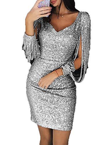 (GARYOB Damen Abendkleider Sexy V-Ausschnitt Cocktailkleid Glänzend Hoch Maxikleider Dress für Hochzeit Festlich)