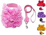 Lushpetz Hundegeschirr mit Blumen in Rosa, Gelb oder Lila für Xs und kleine Rassen wie Chihuahua, Yorkie, Mops (Größe 4 Brustumfang 46 cm, Gewicht: 5-7 kg, Rosa)