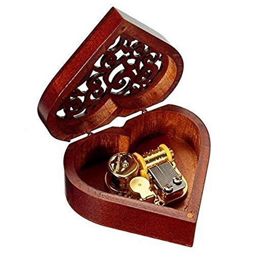 Cieelita Caja de Música Corazón,Caja Música Madera con Tallado Regalo con caja para Navidad,Día de San Valentín,cumpleaños y aniversario (Bronce)