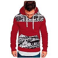 Men Hoodies Sweater Coat, Male Christmas Printed Long Sleeve Pocket Sweatshirt Pullover Outwear