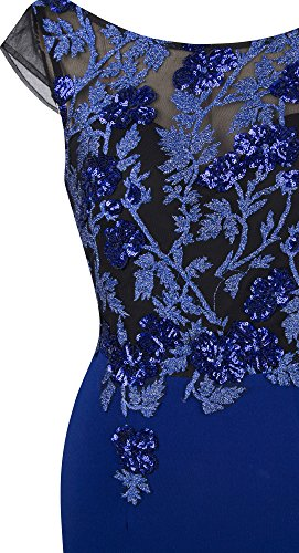 Angel-fashions Femme Col rond Sequin bouchon manche sirene robe longue Bleu royal