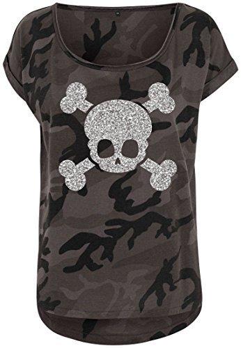 Livingstyle & Wanddesign Damen Camouflage T-Shirt Glitzer Totenkopf Dark Camo Silber, Gr. M