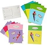 12 tlg. Set Einladungskarten - Schultüte mit Glitzer - für Mädchen & Jungen - Postkarte z.B. für Schulanfang / Schulbeginn - Einladung Karte Schuleinführung Schule Geburtstag - Zuckertüten Postkarten