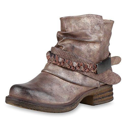 SCARPE VITA Damen Stiefeletten Leicht Gefüttert Biker Boots Schnallen Metallic 164531 Rose Gold Schnallen 37