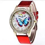 Reloj de Pulsera de Moda Calidad Comercial Correa de Piel de Cocodrilo Mariposa Estilo Redondo Mujeres Reloj de Movimiento de Cuarzo de Metal(Rojo)
