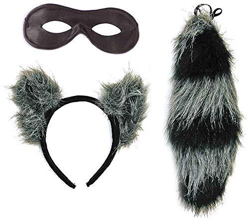 shoperama Waschbär Set Kopfschmuck Schwanz und Maske Kostüm-Zubehör Karneval Haarreif Ohren (Waschbär Halloween Kostüm)