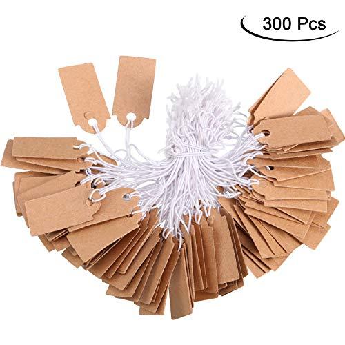 300 Packungen Markierung Etikette Preisschilder Beschreibbare Leere Preisschilder Display Anhänger mit Elastischer Aufhängen Schnur, Kraft, 1,02 x 0,47 Zoll